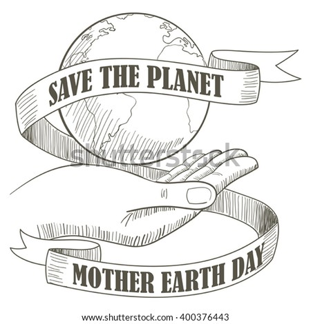 Line art illustration of a hand holding the planet Earth with decorative ribbon and text