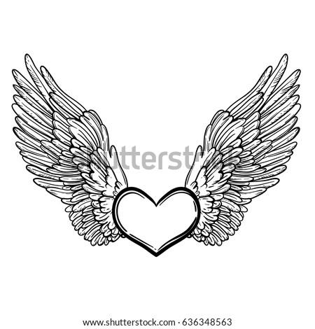 line art illustration angel wings heart stock vector 2018 rh shutterstock com angel wings with heart in the middle angel wings with heart clipart