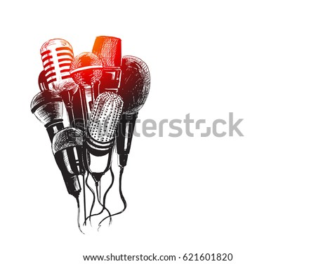 Line art illustration of microphones and recorders for journalism symbol.