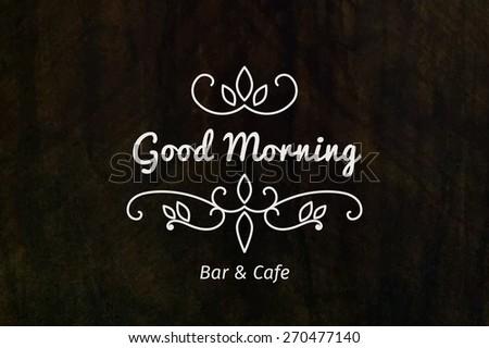 Line art logo template for bar or cafe. Vector monogram symbol on grunge background - stock vector