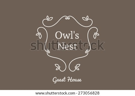 Line art logo template for guest house. Vector monogram symbol - stock vector