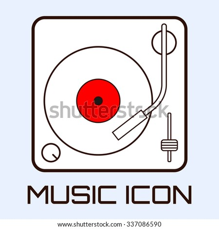 Line art musical icon of vinyl deck, white on light blue background. Vector graphics.  - stock vector