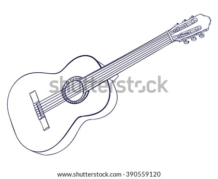 Line art of acoustic guitar isolated on white. Dark blue lines. VECTOR sketched illustration