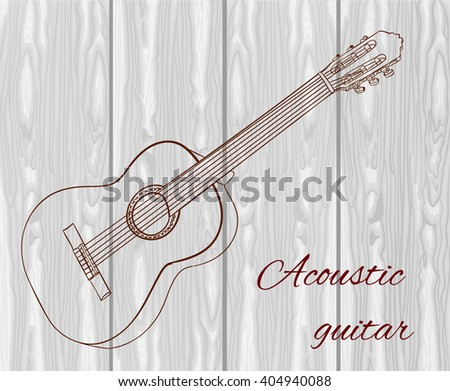 Line art of acoustic guitar on light wood texture. Dark red lines. VECTOR sketched illustration  - stock vector