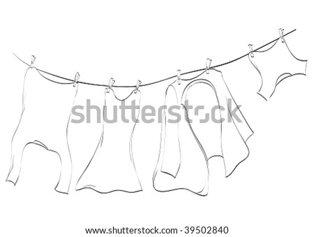 Line art of washing lines with drying clothes, vector illustration - stock vector