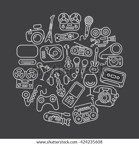 Line art on a dark grey background. Entertainment and Home electronics vector icon set. Round shape illustration. - stock vector
