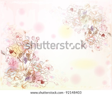 line art roses on the watercolor background - stock vector