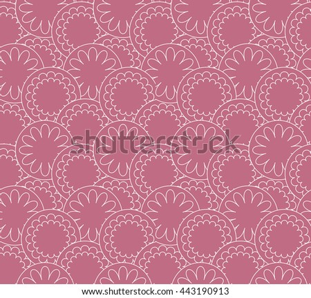 Line art seamless pattern. Circle flower background. Pink vector abstract.