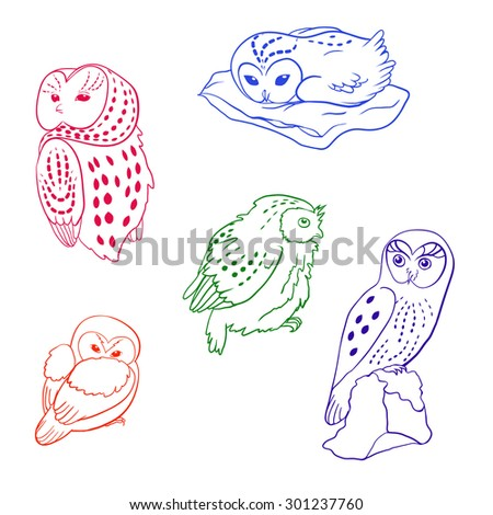 line art set of spotted owls - stock vector