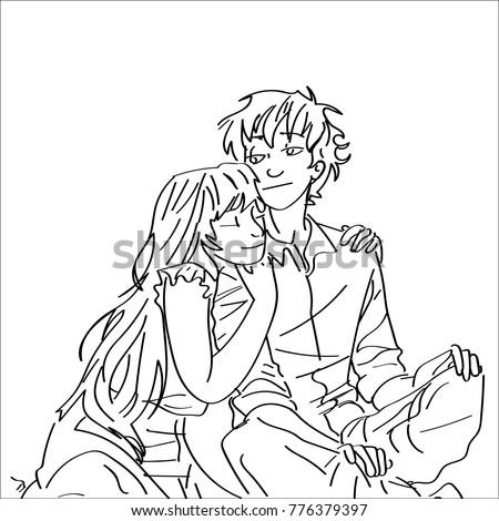 Romantic Hug Sketches