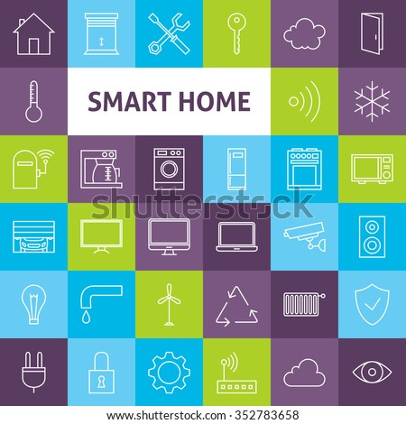 Line Art Smart Home Icons Set. Vector Set of House Technology Modern Line Icons for Web and mobile. - stock vector