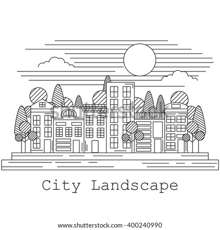 Line art style city landscape. Different residential houses.  - stock vector
