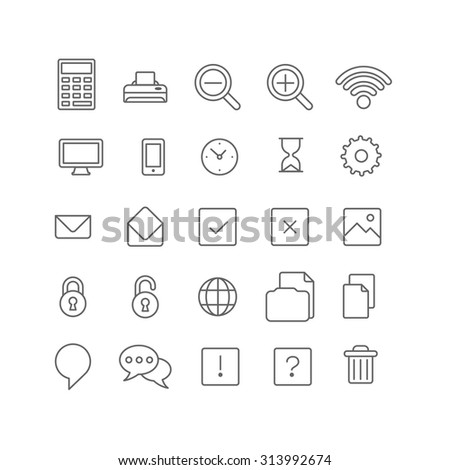 Line art style flat graphical set of web site mobile interface app icons. Calculator printer zoom wifi clock hourglass cog email picture lock unlock chat copy delete help FAQ. Lineart world collection - stock vector