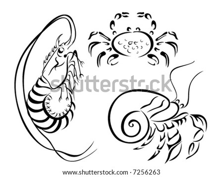 Line Art Vector Animal Series: Invertebrates