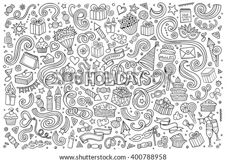 Line art vector hand drawn Doodle cartoon set of holidays objects and symbols - stock vector