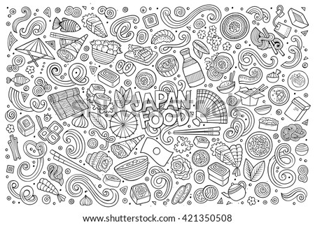 Line art vector hand drawn doodle cartoon set of Japan food objects and symbols - stock vector