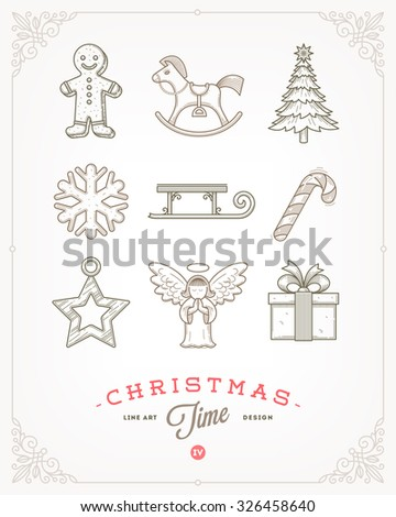 Line art vector illustration - Set of Christmas signs and symbols - stock vector