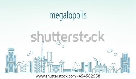 line background of the city - stock vector