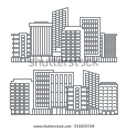 line background of the city, vector cityscape collection
