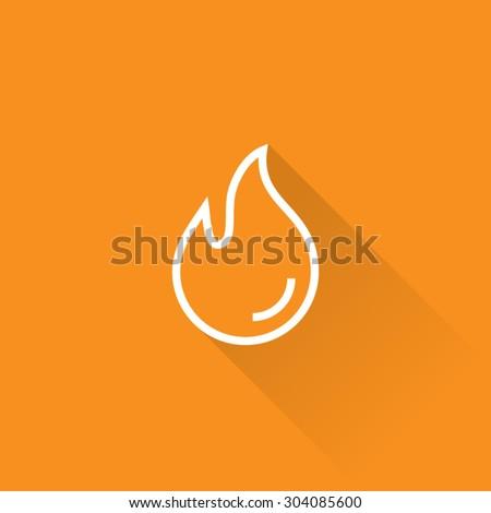 Line Burn Hot Fire Icon - stock vector