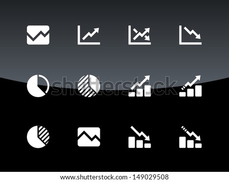 Line chart and Diagram icons on black background. Vector illustration. - stock vector