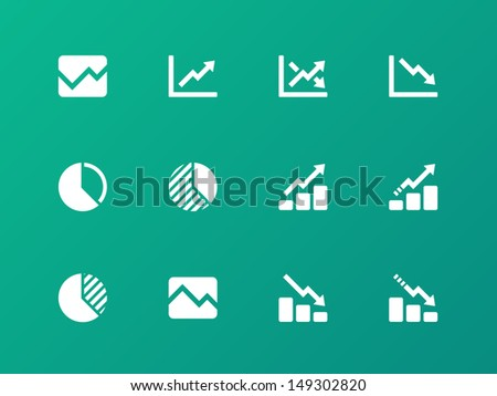 Line chart and Diagram icons on green background. Vector illustration. - stock vector