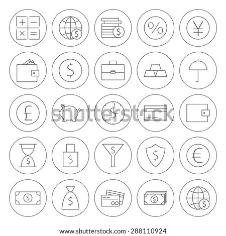 Line Circle Finance Banking Icons. Vector Set of Line Art Modern Icons for Web  Mobile Bank and Banking. Money and Finance Items. Business Marketing and Shopping Objects. Earnings and Investments. - stock vector