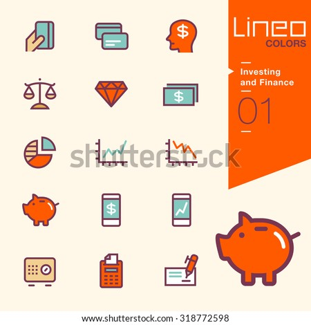 Line Colors - Investing and Finance icons - stock vector