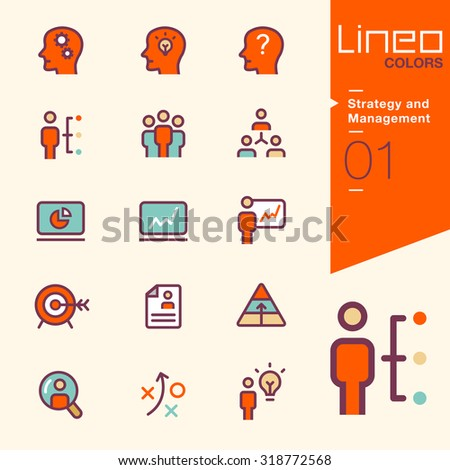 Line Colors - Strategy and Management icons - stock vector