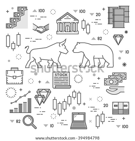 Line concept of stock market. Vector concept of stock market. Square symbol of commodity exchange.  Modern banner of stock exchange.   - stock vector