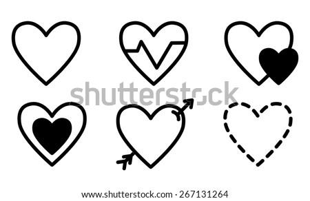 line contour black set hearts. Vector illustration. - stock vector