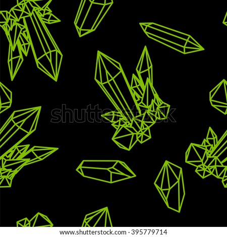Line crystal seamless pattern. Green outline seamless pattern. Green crystals on black. Seamless pattern with green crystals.green seamless pattern. Crystal seamless pattern, Seamless pattern emerald - stock vector