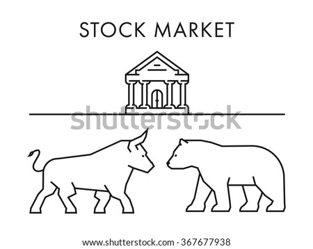 Line design concept for stock market. Vector silhouette figures bull and bear. Linear stock logo and symbol. - stock vector