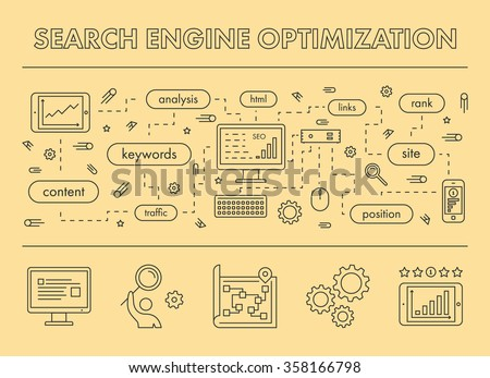 Line design concept web banner for Search Engine Optimization. Vector landing page - stock vector