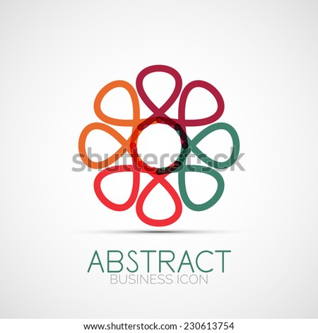 Line design logo, geometric abstract business identity icon, connected lines, symmetric loop logotype - stock vector
