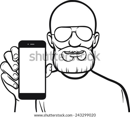 line drawing of a bald man showing a mobile app on a smart phone - stock vector