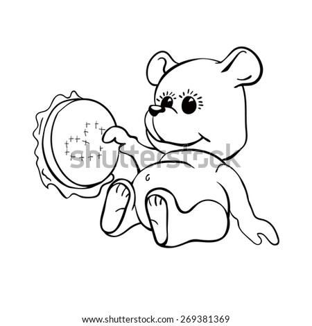 line drawing of a cute teddy bear teddy holding in the paws of the hoop
