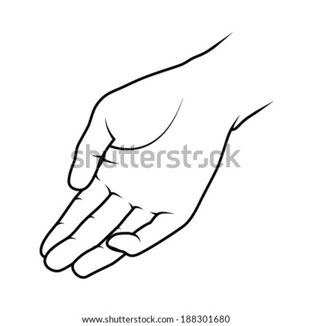 Line drawing of a human male hand.