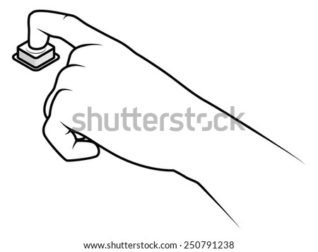 Line drawing of a human male hand about to press a button.