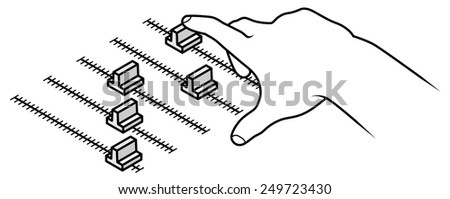 Line drawing of a human male hand adjusting a slider.  - stock vector