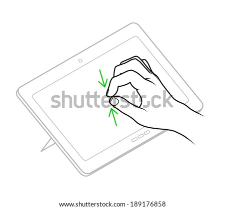 Line drawing of a human male hand demonstrating a two-finger pinch zoom-iout gesture on a tablet. - stock vector