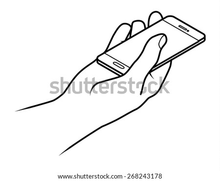 Line drawing of a human male hand holding a small smartphone.  - stock vector