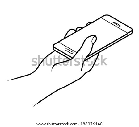 Line drawing of a human male hand holding a smartphone.