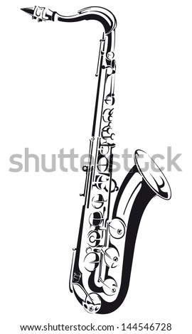 Line drawing of a saxophone, isolated on background - stock vector