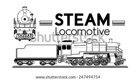 line drawing of a steam locomotive front and side - stock vector