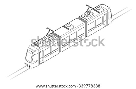 Line drawing of a tram or light rail public transport vehicle. - stock vector