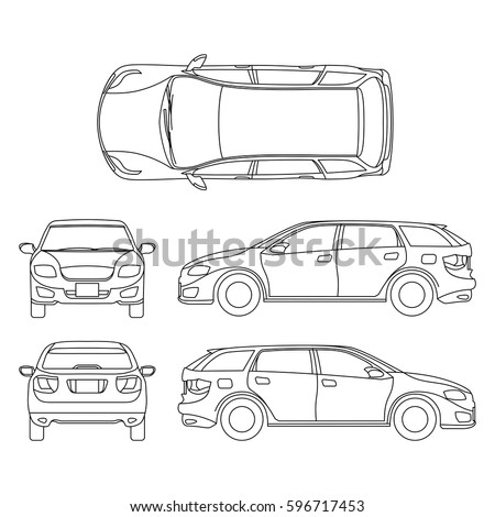 line drawing car white vehicle vector stock vector suv suspension diagram #2