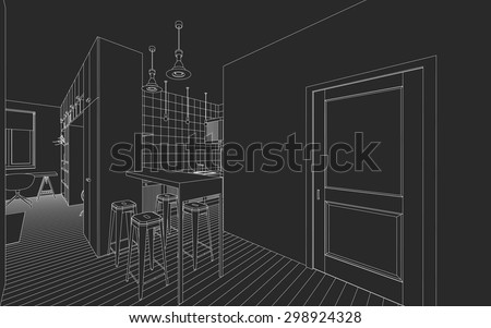 Line drawing of the interior on a black background