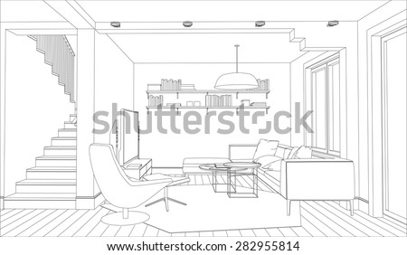 Line drawing of the interior on a white background - stock vector