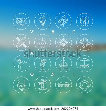Line drawing vector icons - Summer vacation, holidays and travel signs and symbols - stock vector